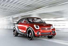 Агрессивный дизайн Smart Forstars подчеркивают «мускулистые» формы ибольшие колеса сшинами размерностью 245/35R21.