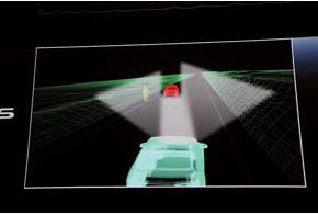 Обнаружив встречный транспорт, система адаптивного дальнего света AHS шторками на линзах фар закрывает часть светового пучка.