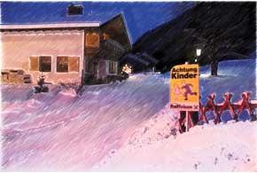 Стемнело. В очередной альпийской деревушке – чистенькой, носовершенно безлюдной – вдруг попался странный дорожный знак. Ничего себе детишки –