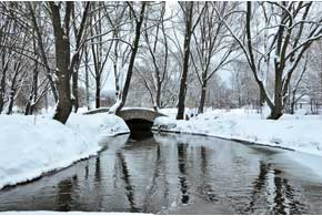 В ландшафтном парке множество рукотворных водоемов и проток, которые «перехвачены» каменными мостиками.