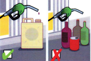При использовании металлических канистр (есть во всех магазинах сети АЗС Shell) накопление электростатических зарядов не происходит. Так как металл проводит электричество, заряды стекают в землю.