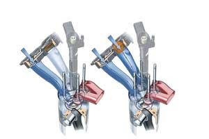 Впускной коллектор двигателя 2,0 TDI оснащен заслонками с плавной регулировкой, с помощью которых, в зависимости от числа оборотов двигателя и нагрузки, регулируется процесс вихреобразования потока всасываемого воздуха.