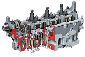 На каждый цилиндр приходится два впускных и два выпускных клапана, установленных вертикально тарелками вниз.
