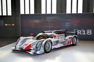 Победитель марафона «24 часа Ле-Мана» дизельный гибрид Audi R18 e-tron quattro оснащен электромаховичным накопителем энергии.
