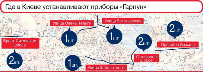 Где в Киеве устанавливают приборы «Гарпун»