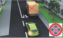 Рис. 9. Остановка и стоянка запрещены в местах, где ТС закрывает от других водителей дорожные знаки или светофоры, а также если до сплошной линии разметки остается менее 3 метров.