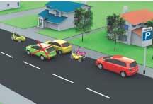 Рис. 10. ТС не разрешается ставить на проезжей части в два и более рядов. Велосипеды и мотоциклы без бокового прицепа разрешается ставить на проезжей части не более чем в два ряда.