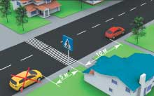 Рис. 14. Остановка и стоянка запрещены на пешеходных переходах и ближе 10 м от них с обеих сторон, кроме случаев остановки для предоставления преимущества в движении.
