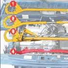 Распорки между чашками (1), (2), (3) в основном полезны для «экстремалов», а вот распорка между рычагами позволяет сохранить неизменной геометрию подвески при маневрах и на разбитых дорогах.