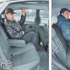 Mazda 323 (BA) – VW Golf III. По просторности заднего сиденья 5-дверная модификация Mazda 323 практически не уступает VW Golf. Правда, места над головами пассажиров в ней заметно меньше, особенно для высоких людей. А вот в «немецкой» трехдверке просторнее, чем в 3-дверной версии «японца».