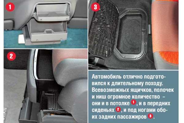 Автомобиль отлично подготовился к длительному походу. Всевозможных ящичков, полочек и ниш огромное количество – онии в потолке 1, и в передних сиденьях 2, и под ногами обоихзадних пассажиров 3.