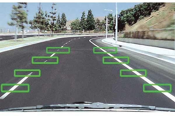 Камера считывает разметку и вычисляет положение автомобиля на полосе движения.