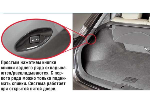 Простым нажатием кнопки спинки заднего ряда складываются/раскладываются. С первого ряда можно только поднимать спинки. Система работает при открытой пятой двери.