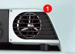 Турбина (1) исолнечные элементы (2) обеспечивают машину дополнительным питанием.