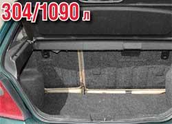 При заполненном людьми салоне самый объемный грузовой отсек у Mazda 323 (ВА) – 345 л, а самый малогабаритный – у Rover 200 (всего 304 л). Вместе с тем при сложенных задних сиденьях наибольший багажник у Golf III (1162 л), а наименьший – у Peugeot 306 (640 л).