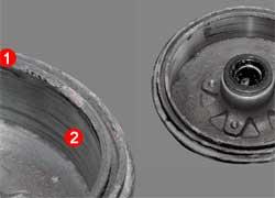 Барабан, изношенный не более допустимого, можно восстановить, сточив буртик и выровняв канавки на рабочей части.