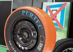Для обучения вождению на скользких покрытиях компания Skid Tyre представила мастику для придания протектору низкого коэффициента сцепления.