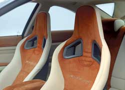 Спинки «ковшей» отличаются не только вышитыми логотипами с названием модели, но и отверстиями для спортивных четырехточечных ремней безопасности, хотя на машине установлены обычные.