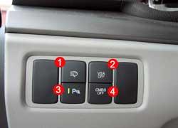 Омыватели фар включаем отдельно (1). Рядом кнопки отключения системы стабилизации (2), «голоса» парктроника (3), системы предотвращения и уменьшения последствий аварии (4).