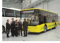 Львовский завод коммунального транспорта нынче входит в состав недавно образованного холдинга «ЛАЗ». В экспозиции были представлены три модели: два низкопольника «СитиЛАЗ» и туристический лайнер «NeoLAZ».