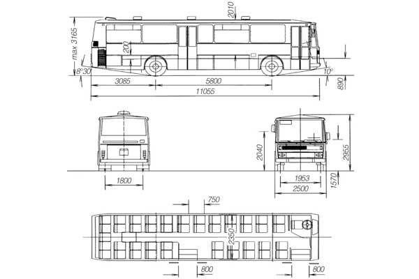 Габаритные размеры пригородного автобуса Karosa C734.