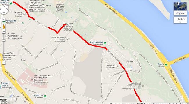 ограничения движения транспорта в центре Киева