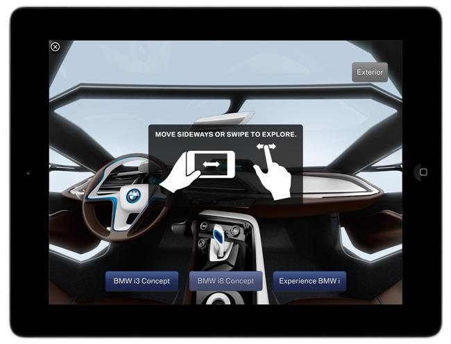 С помощью iPad можно пристально изучить интерьер автомобилей BMW