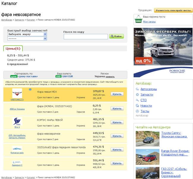 На сайте zapchasti.avtobazar.ua новый сервис
