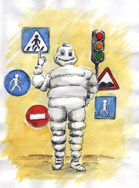 Символ шинной компании часто фигурировал на детских рисунках