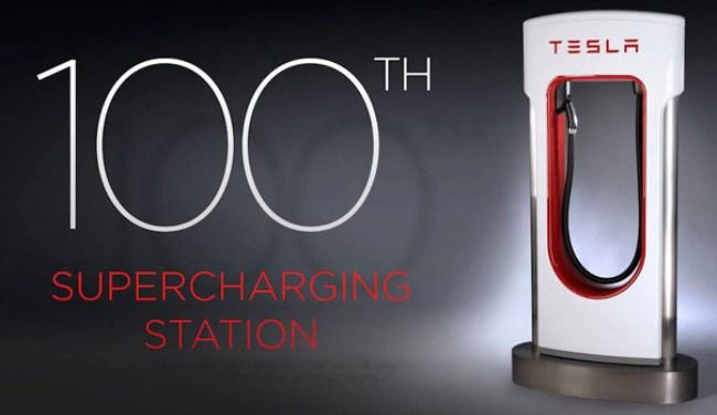 Tesla открыла сотую станцию зарядки