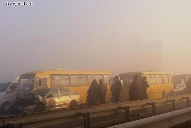 На выезде с Киева произошло масштабное ДТП