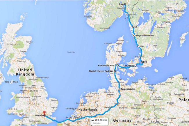 Путь предстоял немаленький – 2106 км по дорогам шести стран: Норвегии, Швеции, Германии, Голландии, Бельгии и собственно Великобритании