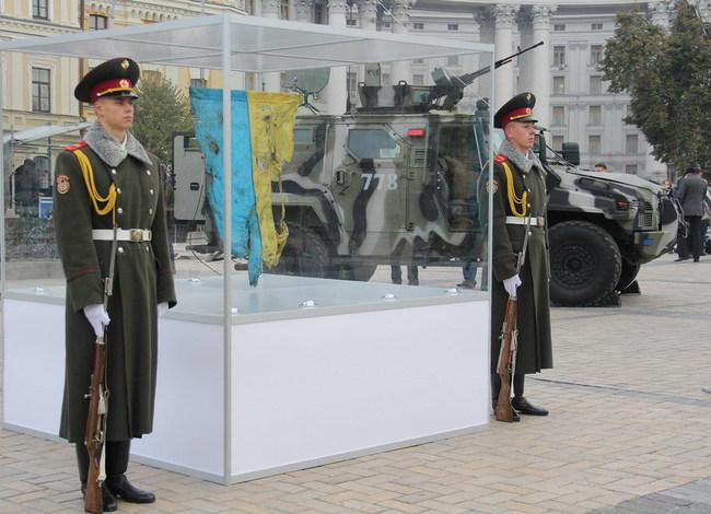 Флаг, который вместе с бойцами 93-й отдельной механизированной бригады прошел пекло Иловайска.